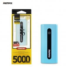 Remax E5 5000mAh Ārējas uzlādes batereja USB 5V 1A Ligzda Anodizēts Alumīnija korpuss Zila