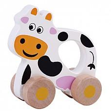 Wooden Cow (E01.027.1.1) Jumini attīstoš.rotaļlieta