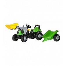 Bērnu traktors ar pedāļiem rollyKid Deutz ar kausu un  piekabi  (2,5-5 gadiem) 023196 Vācija