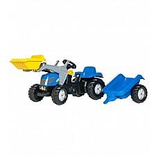 Bērnu traktors ar pedāļiem rollyKid NH T7040 ar kausu un  piekabi  (2,5-5 gadiem) 023929 Vācija